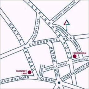 Map showing directions to GBdirect Central London Training Courses